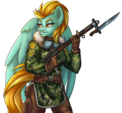 Size: 894x825 | Tagged: anthro, artist:bumblebun, bayonet, camouflage, clothes, coat, female, frown, gloves, goggles, gun, lightning dust, looking over shoulder, no trigger discipline, safe, solo, weapon