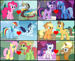 Size: 2296x1880 | Tagged: alicorn, applejack, artist:themexicanpunisher, carajack, caramel, discopie, discord, female, flutterhugger, fluttershy, lesbian, male, pinkie pie, rainbow dash, rarity, safe, shipping, shipping domino, soarin', soarindash, straight, tree hugger, trenderhoof, trenderity, trixie, twilight sparkle, twilight sparkle (alicorn), twixie