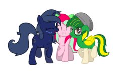 Size: 2600x1463 | Tagged: artist:kiwipone, cute, female, group photo, male, oc, oc:kiwi aura, oc:lucidia gem, oc:midnight music, outdated submission, pony, safe
