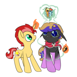Size: 2000x2000 | Tagged: 2019 community collab, appledash, applejack, artist:ezupack, blue changeling, changeling, changeling oc, derpibooru community collaboration, fangs, female, lesbian, looking up, oc, oc:ember flare, oc only, oc:tozuma, pony, rainbow dash, safe, shipper on deck, shipping, simple background, transparent background, unicorn, voodoo doll
