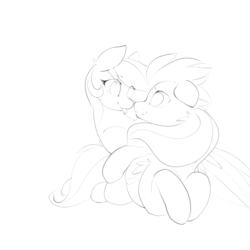 Size: 1280x1280 | Tagged: artist:b-epon, couple, female, male, :p, pegasus, pony, safe, silly, sketch, snuggling, source needed, tail wrap, tongue out, useless source url