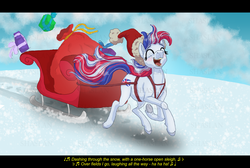 Size: 7000x4700 | Tagged: artist:shaslan, christmas, earth pony, eyes closed, female, holiday, jingle bells, lyrics, mare, mascot, music notes, obtrusive watermark, oc, oc:britannia (uk ponycon), oc only, pony, safe, singing, sleigh, snow, solo, song reference, text, uk ponycon, watermark