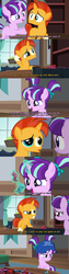 Size: 1280x5040 | Tagged: board game, cap, colt sunburst, comic, dialogue, dragon pit, edit, edited screencap, female, filly, filly starlight, foal, hat, op is a duck, op is trying to start shit, pigtails, please be patient i have autism, pony, safe, screencap, starlight glimmer, sunburst, uncommon bond, unicorn, younger