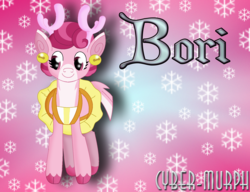 Size: 1760x1352   Tagged: safe, artist:cyber-murph, bori the reindeer, deer, pony, reindeer, best gift ever, bells, clothes, signature, snow, snowflake