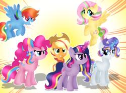 Size: 963x713 | Tagged: safe, artist:doraeartdreams-aspy, artist:selenaede, applejack, fluttershy, pinkie pie, rainbow dash, rarity, twilight sparkle, alicorn, pony, applejack's hat, cowboy hat, flying, glowing horn, hat, mane six, older, rainbow hair, rainbow power, rainbow tail, stetson, twilight sparkle (alicorn)