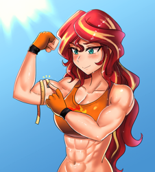Size: 600x665 | Tagged: safe, artist:tzc, sunset shimmer, human, equestria girls, abs, bicep, clothes, commission, female, fetish, flexing, humanized, measuring tape, muscle fetish, muscles, muscular female, smiling, sports bra, sunset lifter