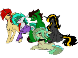 Size: 1600x1200 | Tagged: safe, artist:brainiac, derpibooru exclusive, oc, oc:cradle, oc:fluoride sting, oc:knick knack, oc:piper, oc:servus, oc:servus liber, pony, unicorn, 2019 community collab, derpibooru community collaboration, clothes, collar, hoodie, serper, simple background, transparent background