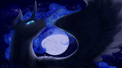 Size: 1920x1080 | Tagged: safe, artist:floverale-hellewen, nightmare moon, alicorn, pony, ethereal mane, evil, female, full moon, horn, mare, moon, night, night sky, signature, sky, slit pupils, solo, spread wings, starry mane, stars, wings