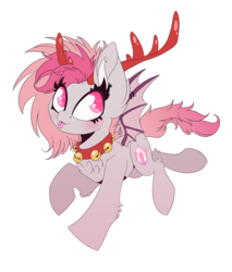 Size: 1451x1700 | Tagged: safe, artist:hagallaz, oc, oc only, oc:candy quartz, bat pony, deer, pony, reindeer, :p, bat pony oc, blushing, christmas, collar, cute, dressup, fangs, female, fluffy, happy, holiday, monster mare, shaved mane, silly, simple background, solo, tongue out, transparent background, two toned mane, two toned wings, wings