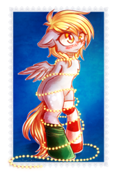 Size: 1988x3000 | Tagged: safe, artist:chaosangeldesu, derpy hooves, pegasus, pony, arm behind back, bipedal, blushing, christmas, christmas lights, clothes, cute, derpabetes, female, holiday, i just don't know what went wrong, mare, socks, solo, striped socks, tied up