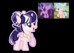 Size: 3640x2620   Tagged: safe, artist:iheyyasyfox, cozy glow, twilight sparkle, oc, alicorn, pony, age difference, cozytwi, female, filly, magical, magical lesbian spawn, offspring, parent:cozy glow, parent:twilight sparkle, parents:cozytwi, shipping, simple background, transparent background, twilight sparkle (alicorn)