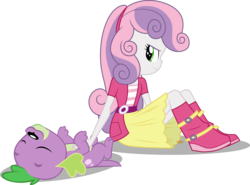 Size: 4593x3393 | Tagged: artist:cloudyglow, artist:red4567, bellyrubs, boots, dog, edit, edited edit, editor:slayerbvc, equestria girls, female, inverted mouth, looking back, misleading thumbnail, missing accessory, on back, safe, shoes, simple background, sitting, smiling, spike, spike's dog collar, spike the regular dog, sweetie belle, transparent background, vector, vector edit
