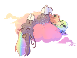 Size: 1024x768 | Tagged: artist:akiiichaos, cloud, earth pony, female, mare, oc, oc:bee, oc only, on back, pony, safe, solo