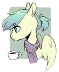Size: 409x504 | Tagged: safe, artist:amphoera, oc, oc:venti via, pegasus, pony, bust, clothes, coffee, scarf, solo