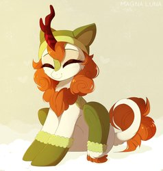 Size: 2809x2956   Tagged: safe, artist:magnaluna, autumn blaze, kirin, sounds of silence, abstract background, awwtumn blaze, blushing, boots, cheek fluff, chest fluff, clothes, cute, daaaaaaaaaaaw, eyes closed, female, fluffy, happy, hat, heart, hnnng, leg fluff, magnaluna is trying to murder us, precious, shoes, simple background, sitting, smiling, solo, tail fluff, underhoof, weapons-grade cute
