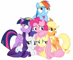 Size: 1918x1573 | Tagged: safe, edit, edited screencap, editor:lonely fanboy48, screencap, applejack, fluttershy, pinkie pie, rainbow dash, rarity, twilight sparkle, alicorn, earth pony, pony, best gift ever, the great escape room, background removed, cute, mane six, scared, simple background, together forever, twilight sparkle (alicorn)