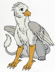 Size: 1234x1619 | Tagged: safe, artist:furrypur, artist:tinibirb, color edit, edit, oc, oc only, oc:der, griffon, color, colored, male, sitting, solo, traditional art