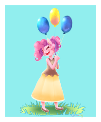 Size: 1000x1200 | Tagged: anthro, artist:talimingi, balloon, blue background, clothes, cute, diapinkes, dress, eyes closed, happy, pinkie pie, safe, simple background, smiling, solo