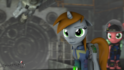 Size: 1920x1080 | Tagged: 3d, artist:spinostud, clothes, cutie mark, fallout equestria, fanfic, fanfic art, female, floppy ears, hooves, horn, mare, oc, oc:littlepip, pipbuck, pony, safe, security, security armor, security guard, source filmmaker, stable, stable door, unicorn, vault suit