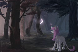 Size: 6000x4000 | Tagged: absurd res, artist:aoiyui, butterfly, classical unicorn, cloven hooves, curved horn, detailed background, digital art, digital painting, ear piercing, female, floppy ears, forest, happy, horn, leonine tail, long mane, long tail, magic, mare, oc, oc only, oc:tarot, palomino, piercing, pink mane, pony, safe, signature, smiling, solo, tree, unicorn, unshorn fetlocks, ych result