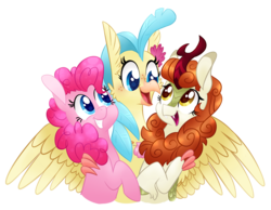 Size: 1622x1257 | Tagged: safe, artist:cartoonboyfriends, autumn blaze, pinkie pie, princess skystar, classical hippogriff, hippogriff, my little pony: the movie, sounds of silence, autumnpie, autumnstar, awwtumn blaze, cute, female, hug, lesbian, polyamory, polygamy, shipping, skypie, skypieblaze