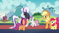 Size: 1280x720 | Tagged: apple bloom, apple bloom's bow, applejack, applejack's hat, barn, bow, coloratura, countess coloratura, cowboy hat, cutie mark, cutie mark crusaders, hair bow, hat, safe, scootaloo, screencap, stage, stetson, sweet apple acres, sweetie belle, the cmc's cutie marks, the mane attraction, tree