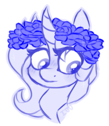 Size: 498x575 | Tagged: artist:drunkencoffee, female, floral head wreath, flower, mare, monochrome, oc, pony, safe, solo, unicorn