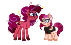 Size: 900x575 | Tagged: artist:drunkencoffee, base used, earth pony, female, half-siblings, magical lesbian spawn, mare, oc, oc only, parent:fluttershy, parent:pinkie pie, parents:tempestpie, parents:tempestshy, parent:tempest shadow, pegasus, pony, safe