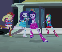 Size: 491x411 | Tagged: safe, screencap, applejack, pinkie pie, rainbow dash, rarity, twilight sparkle, alicorn, equestria girls, equestria girls (movie), bare shoulders, big crown thingy, cropped, fall formal outfits, female, jewelry, regalia, sleeveless, strapless, twilight sparkle (alicorn)