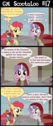 Size: 3200x7600 | Tagged: safe, artist:gm-scoots, apple bloom, sweetie belle, pony, vampire, comic:bleeding hearts, bard, comic, dungeons and dragons, fantasy class, fog, ogres and oubliettes, pen and paper rpg, ranger, rpg