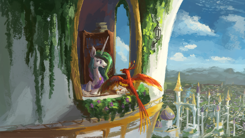 Size: 1920x1080 | Tagged: alicorn, artist:plainoasis, bird, bookcase, canterlot, canterlot castle, city, cityscape, clothes, cute, cutelestia, desk, digital painting, dress, eyes closed, featured image, female, flower, happy, mare, missing accessory, open mouth, outdoors, philomena, phoenix, pony, princess celestia, safe, scenery, scroll, sky, smiling, spread wings, tower, wallpaper, window, wings