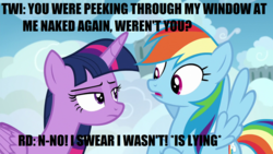 Size: 1280x720 | Tagged: alicorn, caption, edit, edited screencap, female, image macro, impact font, implied lesbian, implied nudity, implied peeping tom, implied shipping, implied twidash, lesbian, liar, pony, rainbow dash, safe, screencap, shipping, top bolt, twidash, twilight sparkle, twilight sparkle (alicorn), we don't normally wear clothes