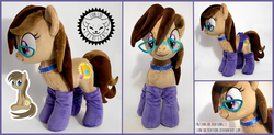 Size: 2500x1230 | Tagged: safe, artist:lioncubcreations, oc, oc only, oc:dawnsong, earth pony, pony, c:, clothes, collar, cute, female, glasses, irl, looking at you, mare, panties, photo, plushie, sitting, smiling, socks, solo, underwear