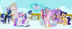 Size: 2288x920 | Tagged: safe, artist:ilaria122, princess cadance, princess celestia, princess flurry heart, princess luna, shining armor, twilight sparkle, oc, oc:crystal arrow, oc:shooting star (ilaria122), alicorn, crystal pony, pegasus, pony, unicorn, alternate design, baby, baby pony, balcony, brother and sister, colt, crown, crystal empire, crystallized, empress cadance, ethereal mane, eyes closed, female, glowing horn, halo, jewelry, male, mare, next generation, older, older flurry heart, older princess cadance, older princess celestia, older princess luna, older shining armor, queen celestia, queen luna, regalia, simple background, sisters-in-law, smiling, stallion, starry mane, twilight sparkle (alicorn), ultimate cadance, ultimate luna, ultimate twilight