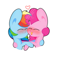 Size: 768x768 | Tagged: artist needed, blushing, eyes closed, floating heart, heart, hug, lesbian, pinkiedash, pinkie pie, rainbow dash, safe, shipping, source needed