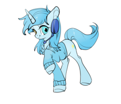Size: 3500x3000 | Tagged: 2019 community collab, clothes, derpibooru community collaboration, female, headphones, hoodie, looking at you, mare, oc, oc only, pony, safe, unicorn