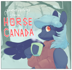 Size: 1067x1035 | Tagged: artist:amphoera, canada, clothes, forest, mug, oc, oc:cold snap, oc only, pegasus, safe, solo, sweater, text