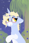 Size: 940x1380 | Tagged: safe, artist:nootaz, oc, oc only, oc:nootaz, pony, unicorn, blushing, female, floppy ears, floral head wreath, flower, freckles, mare, night, nootabetes, periwinkle (flower), raised hoof, remake, smiling, solo, tree