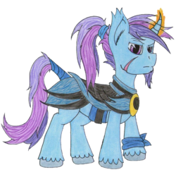 Size: 1084x1059 | Tagged: safe, artist:the1king, derpibooru exclusive, oc, oc only, oc:azure night, alicorn, pony, 2019 community collab, derpibooru community collaboration, armor, clothes, facial hair, glowing horn, magic, magic aura, raised eyebrow, scar, simple background, solo, traditional art, transparent background