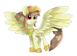 Size: 1024x755 | Tagged: safe, artist:angiepeggy2114, oc, oc only, oc:tailcoatl, pony, aztec, bright, colored, cute, deviantart watermark, digital art, female, happy, hoof shoes, mare, mexican, mexico, my little pony, nation ponies, obtrusive watermark, open eyes, ponified, simple background, smiling, solo, spread wings, watermark, white background, wings