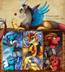Size: 2990x3301 | Tagged: armor, artist:pridark, clothes, cover art, dice, discord, draconequus, earth pony, electricity, fanfic, fanfic art, fanfic cover, fanfic:triumvirate, fire, ice, oc, open mouth, pegasus, pony, safe, unicorn