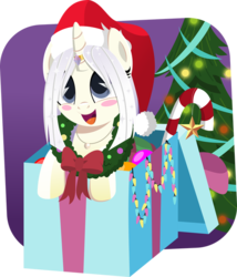 Size: 600x702 | Tagged: safe, artist:jhayarr23, oc, oc:pearl blush, pony, unicorn, blush sticker, blushing, box, candy, candy cane, christmas, christmas tree, cute, female, food, hat, holiday, horn ring, jewelry, necklace, ocbetes, pearl, pony in a box, present, santa hat, simple background, transparent background, tree, wreath
