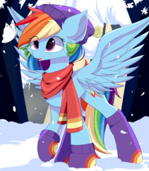 Size: 1300x1500 | Tagged: artist:heddopen, beanie, butterfly, clothes, cute, dashabetes, female, hat, pegasus, pony, rainbow dash, safe, scarf, snow, socks, solo, winter