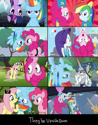 Size: 1310x1672 | Tagged: alicorn, apple tree, best trends forever, best trends forever: pinkie pie, bow, buckball season, camera shot, cute, diapinkes, duo, edit, edited screencap, equestria girls, equestria girls (movie), equestria girls series, fluttershy, fluttershy's cottage, geode of shielding, geode of sugar bombs, guitar, guitar centered, happy birthday to you!, hat, in which pinkie pie forgets how to gravity, magical geodes, netflix, now kiss, out of context, pegasus, pinkie being pinkie, pinkie physics, pinkie pie, pinkie pie cares not for your physics, pinkie pride, ponk, pony, rainbow dash, rainbow rocks, rarity, safe, screencap, shadow play, shocked expression, star swirl the bearded, text, tree, tv rating, tv-y, twilight sparkle, twilight sparkle (alicorn), unicorn, upside down, upside down face, voice actor joke, wall of tags