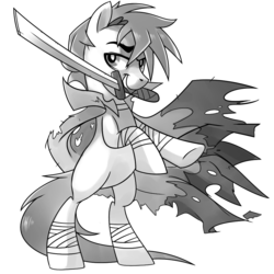 Size: 1024x1024 | Tagged: artist:pepooni, bandage, bipedal, black and white, buck legacy, card art, cloak, clothes, grayscale, katana, looking at you, male, monochrome, oc, oc only, pony, raised eyebrow, rearing, safe, simple background, solo, sword, tattered, transparent background, weapon