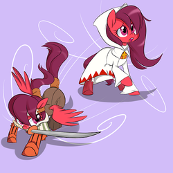 Size: 500x500 | Tagged: artist:jessy, female, mare, oc, oc:berry sweet, oc only, open mouth, pegasus, pony, safe, samurai, solo, sword, weapon, white mage