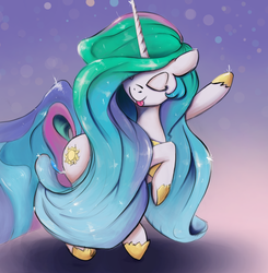 Size: 3076x3133 | Tagged: safe, artist:cookiedesu, princess celestia, alicorn, pony, cute, cutelestia, dancing, female, long mane, majestic as fuck, mare, party, sillestia, silly, silly pony, tongue out