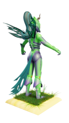 Size: 2160x3840 | Tagged: safe, alternate version, artist:evan555alpha, derpibooru exclusive, queen chrysalis, anthro, 3d, armor, blank expression, blender, bodysuit, boots, clothes, cuirass, cycles, cycles render, dandelion, fauld, girdle, gloves, grass, helmet, mandibles, pauldron, peytral, ponytail, rear view, shoes, simple background, t pose, tail, tights, transparent background