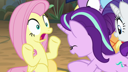 Size: 1280x720 | Tagged: applejack, eyes closed, female, fluttershy, open mouth, pegasus, pony, rainbow dash, rarity, safe, screencap, spoiler:s08e13, starlight glimmer, the mean 6, twilight sparkle, unicorn, wide eyes