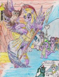 Size: 2544x3306 | Tagged: safe, artist:edhelistar, derpibooru exclusive, owlowiscious, princess cadance, princess celestia, princess flurry heart, shining armor, spike, starlight glimmer, sunburst, trixie, twilight sparkle, oc, oc:edhelistar, alicorn, dragon, kirin, amused, armor, athena sparkle, cape, chibi, cliff, clothes, cloud, confused, costume, crayon drawing, crystal empire, crystal heart, crystal twilight, dialogue, facehoof, fantasizing, glasses, glitter, greek mythology, helmet, kanji, kirin oc, looking at each other, onomatopoeia, parody, ponysona, requested art, signature, spear, stifling laughter, temple, tengwar, text, there is no wrong way to fantasize, traditional art, twilight sparkle (alicorn), unamused, weapon, winged spike